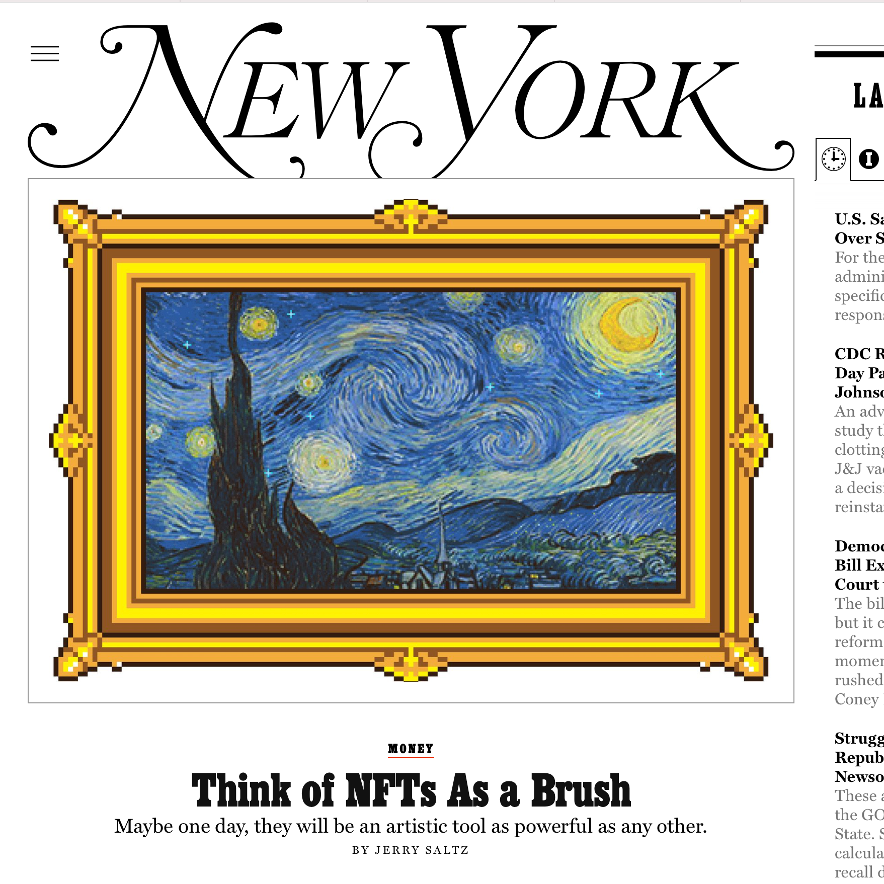 Think of NFTs as a Brush – Illustration for New York Magazine